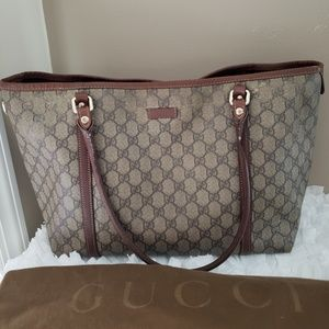 🖤Gucci GG Brown Coated Canvas Tote